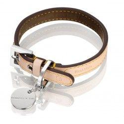 Exclusivo collar fabricado con el mismo cuero de los famosos bolsos de Louis Vuitton