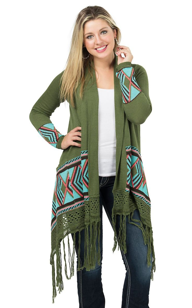 Double Zero Women's Olive with Aztec Trim with Fringe Long Sleeve Cardigan | Cavender's