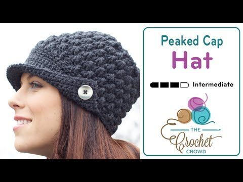 How to Crochet A Hat: Women's Peak Cap Hat with a link to the free written pattern with a chart also.