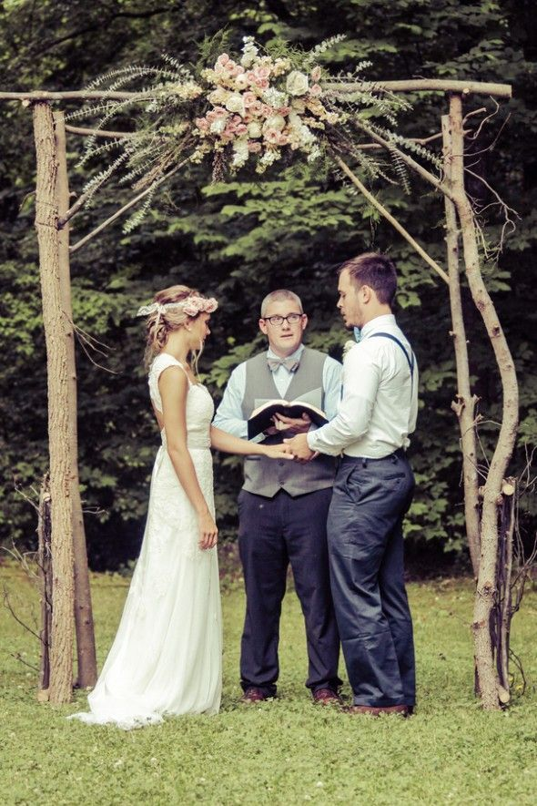 Outdoor Rustic Wedding Ceremony under Trellis