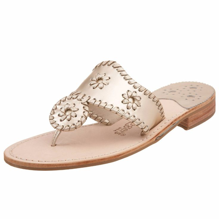 Hamptons Navajo Sandal in Platinum by Jack Rogers. They sell these at Dillard's and I'm usually a size 7.