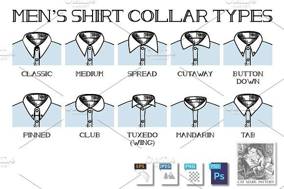 Shirt collars types by CatMadePattern on @creativemarket