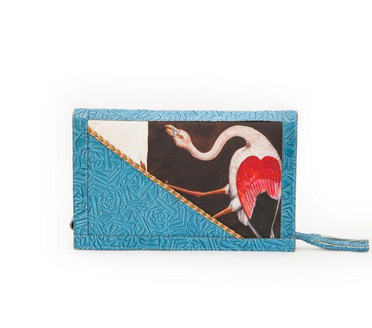 Flamingo leather chain clutch bag. #flamingo #clutch #bag #efidolcini #greekdesigners #leather #bags #accessories