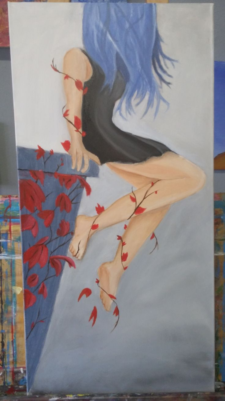 Stunning abstract girl sitting on a ledge