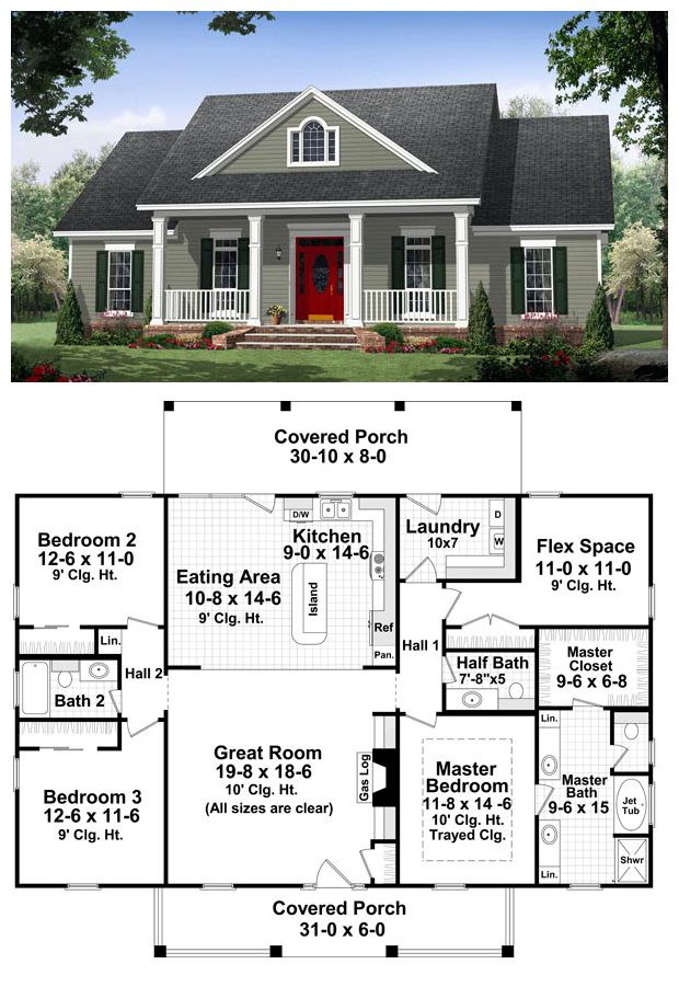 #Country #HomePlan 59952 | This well-designed plan provides many amenities that you would expect to find in a much larger home. The master suite features a wonderful bathroom with large walk-in closet. This plan also features a flex space which could be used as a fourth bedroom or an office. The great room has gas logs as well as built-in cabinets and 10′ ceilings that make it a great place to relax and spend time with family and friends.