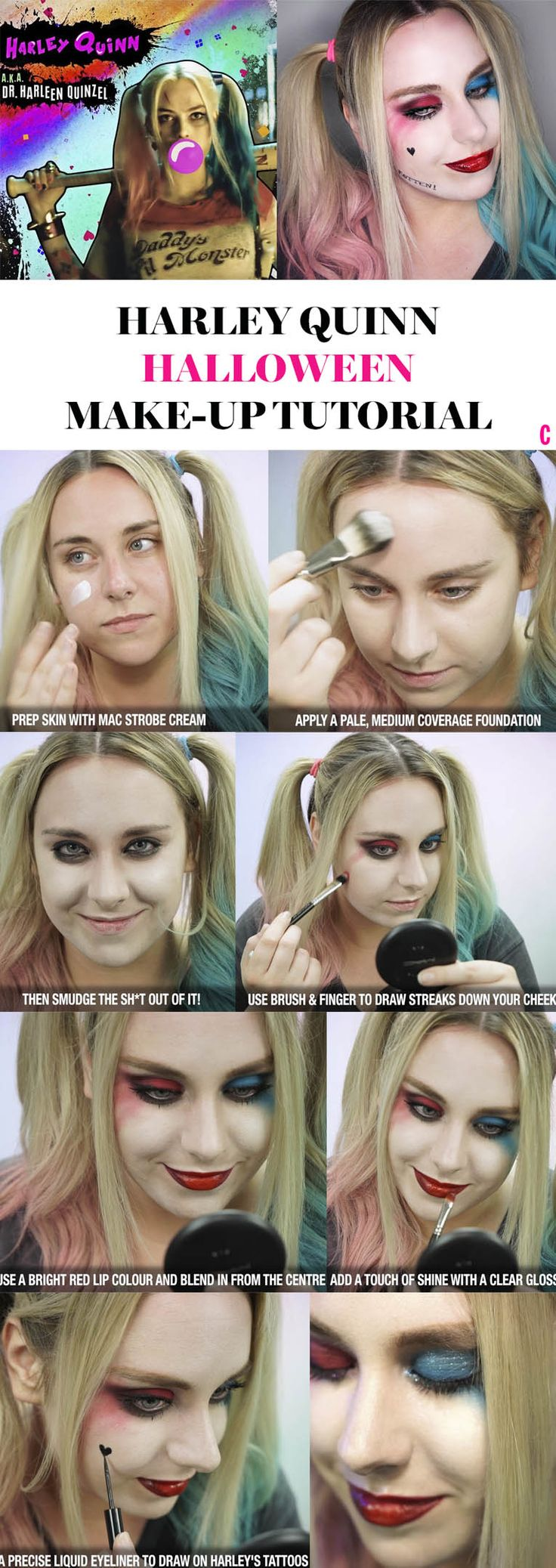 It's time to let your inner freak roam free, yup, we teamed up with the MAC Cosmetics' ah-mazing Senior Artist, Dominic Skinner, to show you how to create the ultimate Harley Quinn makeup look. Whether you want to swot up in time for Halloween, or you just fancy getting your Harley on at home (hey, we're not judging). Click to watch the video tutorial below, and you'll have it nailed in no time.
