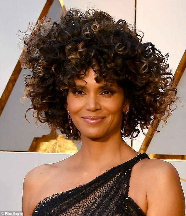 Halle Berry's big curly hairstyle