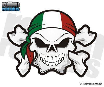 Italy flag bandana italian skull crossbones sticker decal