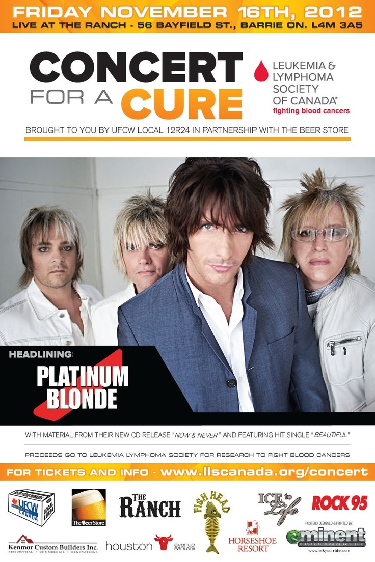 Friday, November 16th come by to Houston Avenue Bar & Grill in Barrie as we host Concert for a Cure's headlining band - PLATINUM BLONDE for a pre-show dinner! Great band, great cause, great place... what more could you want?