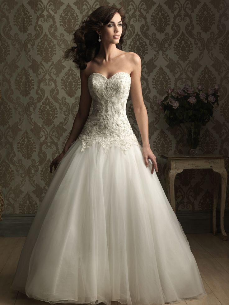 Strapless Sweetheart Ballgown in English Net and Swarovski Crystals in White/Silver