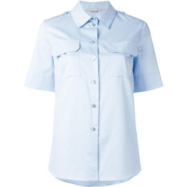 Stella McCartney short sleeve military shirt ($272) ❤ liked on Polyvore featuring tops, blue, military style shirts, blue short sleeve shirt, button front shirt, collared shirt and button front top