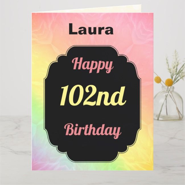 Pretty Personalised 102nd Birthday Card Zazzle Com Birthday Cards Modern Birthday Birthday