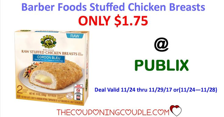 Barber Foods Stuffed Chicken Breasts ONLY $1.75 @ Publix starting 11/24/17! Clip your coupons Now to be ready for this sale!  Click the link below to get all of the details ► http://www.thecouponingcouple.com/barber-foods-stuffed-chicken-breasts/ #Coupons #Couponing #CouponCommunity  Visit us at http://www.thecouponingcouple.com for more great posts!