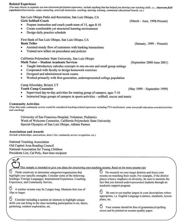 Examples Of Teacher Resumes  Example Resume And Resume Objective