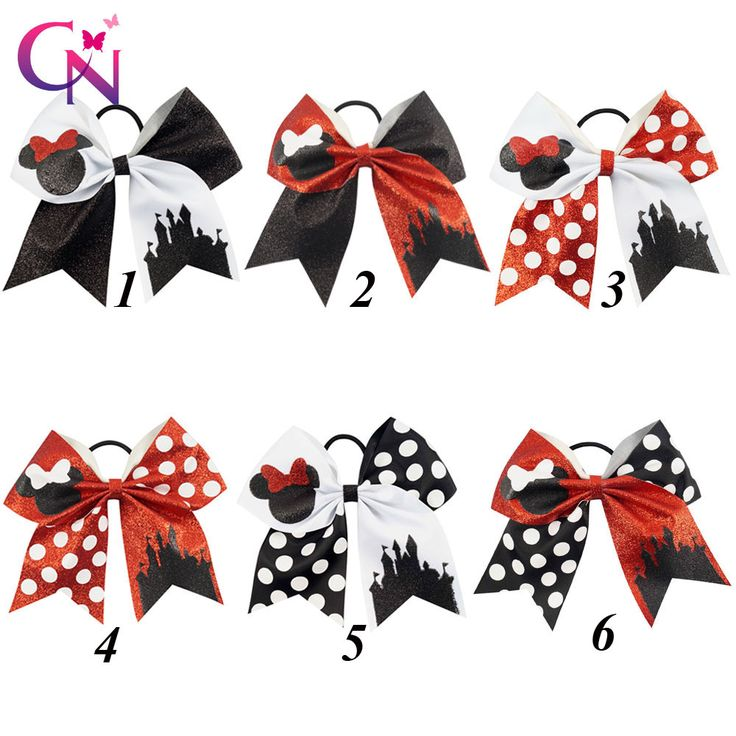 """12 Pcs/lot 7"""" Girls Glitter Minnie Mouse Cheer Bow With Elastic Hair Band Children Kids Large Dots Ribbon Hair Accessories-in Hair Accessories from Mother & Kids on Aliexpress.com 