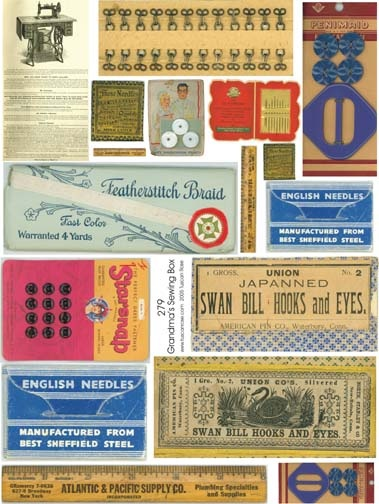 Vintage printables for dollhouse sewing box