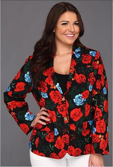 Plus Size Floral Blazer  http://bigcurvylove.com/2014/04/29/plus-size-spring-fashion-bethenny-frankel/   #plussize #spring #fashion #floral