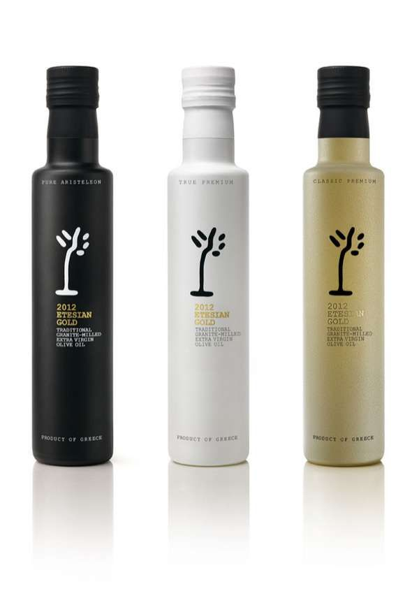 I love this trio of olive oil bottles. The logo is really abstract and to me really reflects the simplicity and natural ruggedness of the olive tree. The colors of the glass bottles are very elemental. To me the black bottle is reminescent of the dark earth and the olive, while the white reminds me of the silvery sheen of the olive tree foliage and the gold is the color of the olive oil.