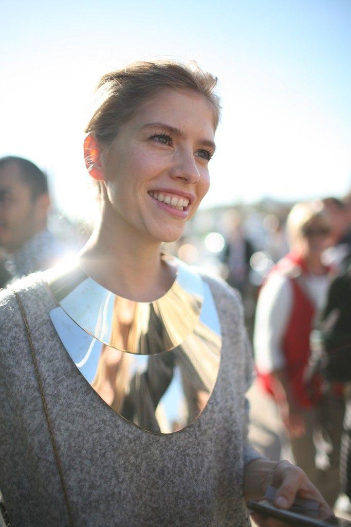 Outside the Paris shows // gorgeous... giant bib necklace.