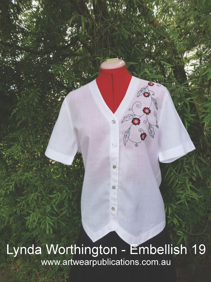 Editor Lynda Worthington explores some new stitches in the newest installment of Embellish with Stitches, whilst at the same time decorating a shirt found in an Op Shop. www.artwearpublications.com.au #embellish #embroidery