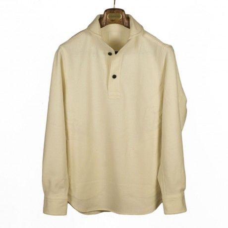 Document - Off-white round collar popover shirt in wool jersey