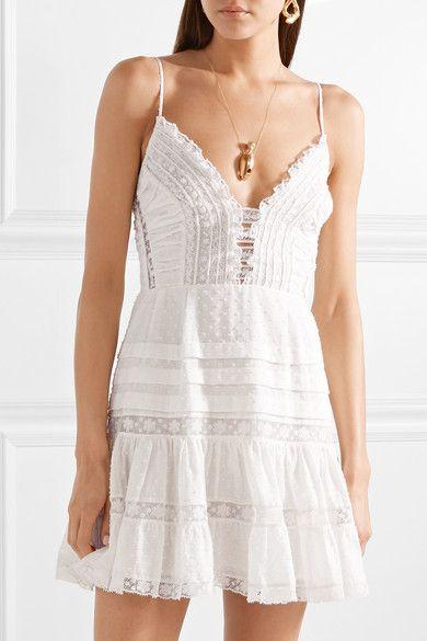 d1eb7f85a2 Zimmermann - Iris lace-paneled Swiss-dot cotton mini dress