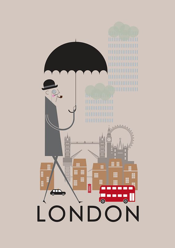 london print a4 a3 a2 poster wall art decor fun retro design city of london england landmarks. Black Bedroom Furniture Sets. Home Design Ideas