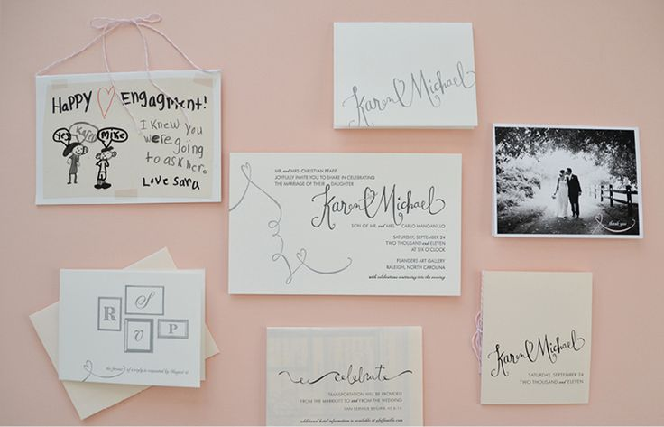 Pink & grey wedding invitation suite with custom calligraphy by KLP Designs