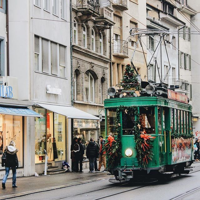 Even the trams in Basel, Switzerland are decorated for the holidays.  ............... Where's the most festive city you've ever been to?