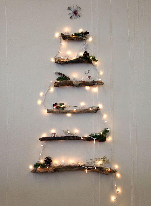 2D Bark Christmas Tree Wall with Lights