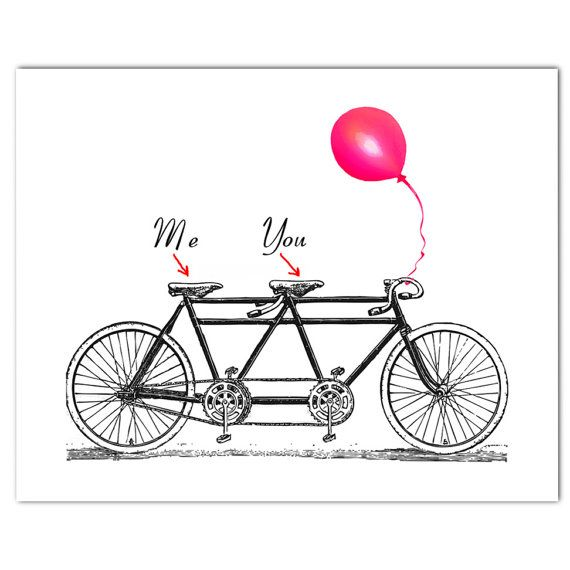 You and Me on the vintage Tandem Bicycle  ORIGINAL by RococcoLA, $25.00