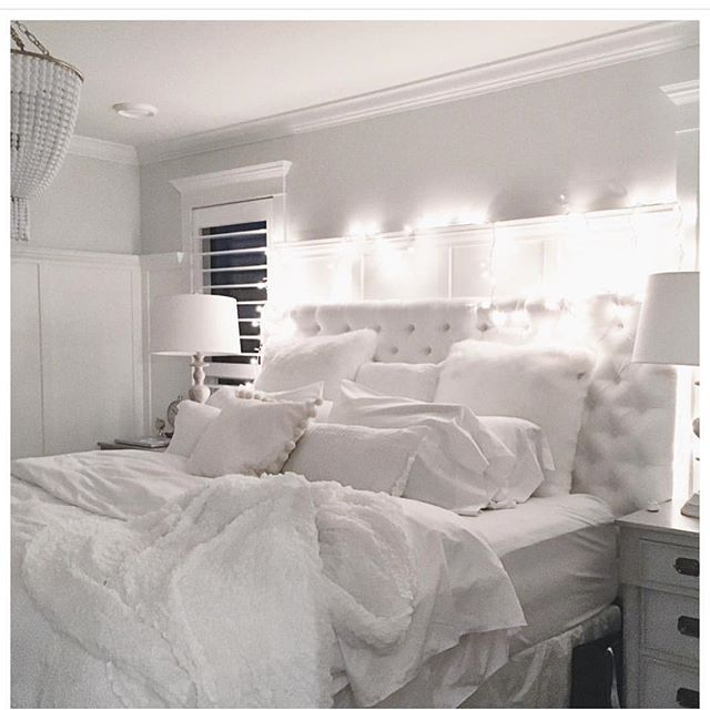 I Love The All White Headboard With All White Bedding