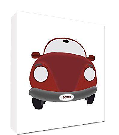 Feel Good Art tela su quadro art parete di stile moderno/illustratif auto di Sport d' epoca rosso/bianco 25 x 25 x 4 cm
