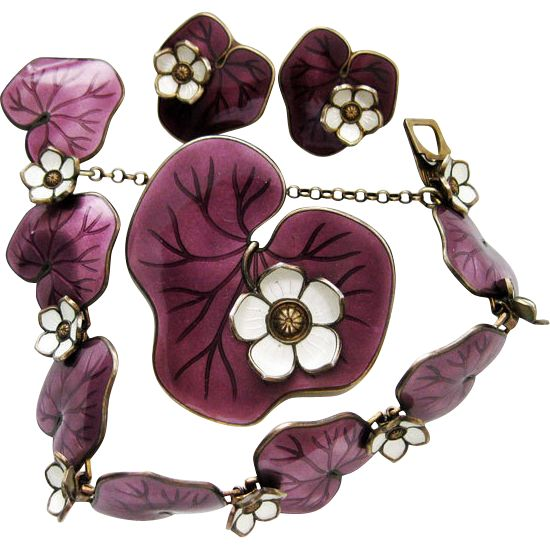 Vintage David-Andersen Waterlily Set Purple Bracelet Brooch Earrings Sterling Enamel Norway Offered by QUICK RED FOX a Ruby Lane Shop