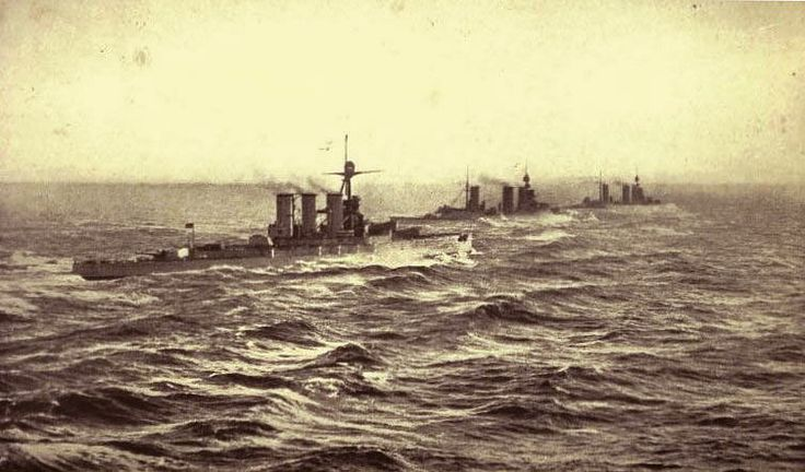British Battle Cruisers HMS Tiger Princess Royal and Lion 1916: contemporary photograph taken from the next battle cruiser in line possibly Queen Mary