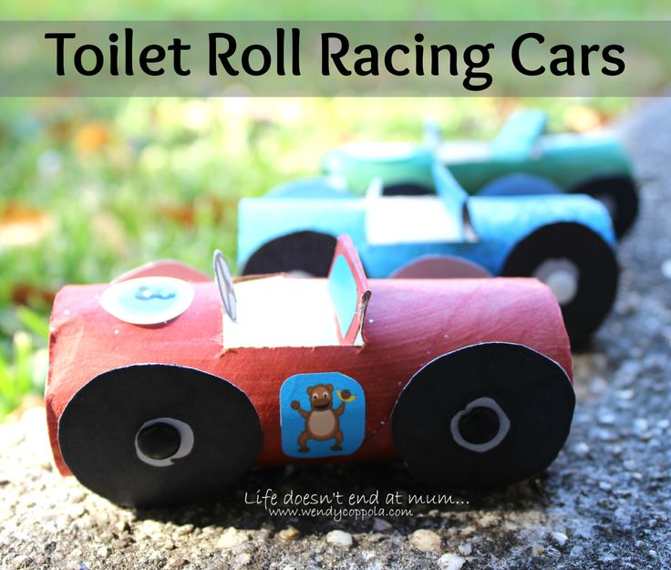 These cool little Toilet Roll Racing Cars are a fun way to recycle toilet paper rolls. I found an image on Pinterest- www.wendycoppola.com