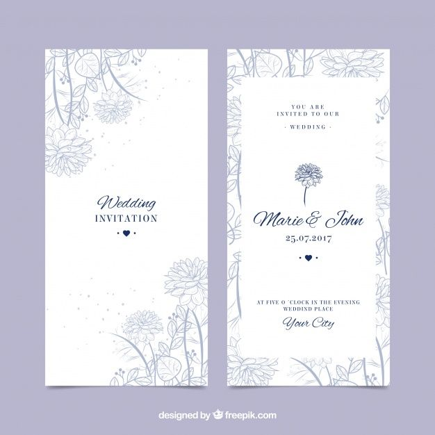 Beautiful wedding invitation with hand-drawn vegetation Free Vector