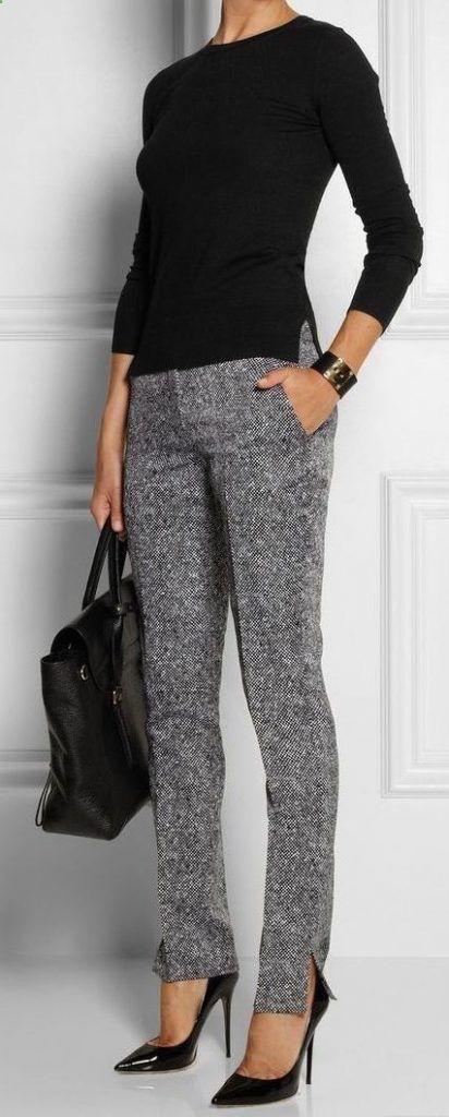 Women's Sweaters – #womenssweaters – #winter #outfits / Black Long Sleeve – Gre…