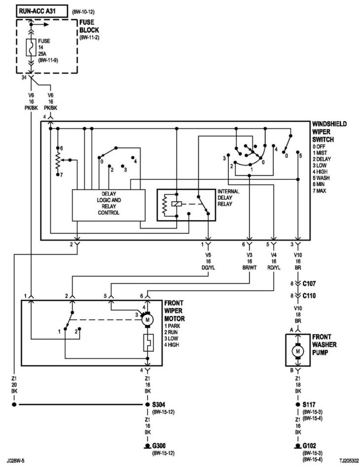 2002 Jeep Wrangler S Wipers 12 Volts Connector Pin And Wiring Diagram
