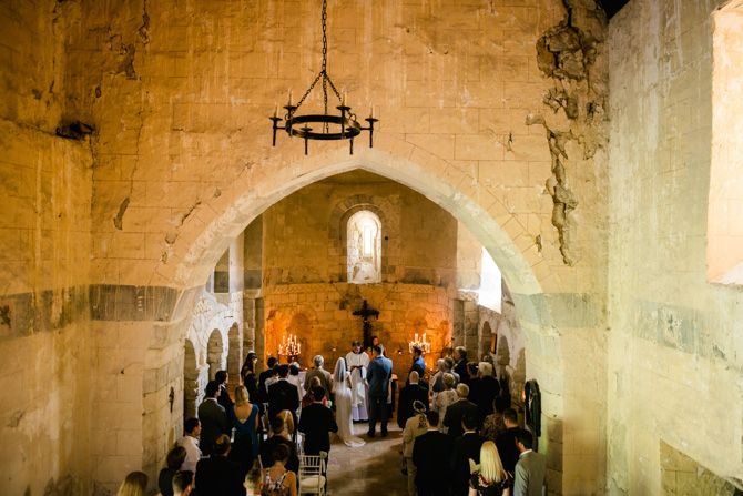 Old stone chapel, Chateau de Lisse. French Wedding