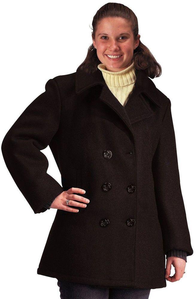 Women s Black Military US Navy Type Wool Peacoat  Rothco  Peacoat ... e4fd27e70