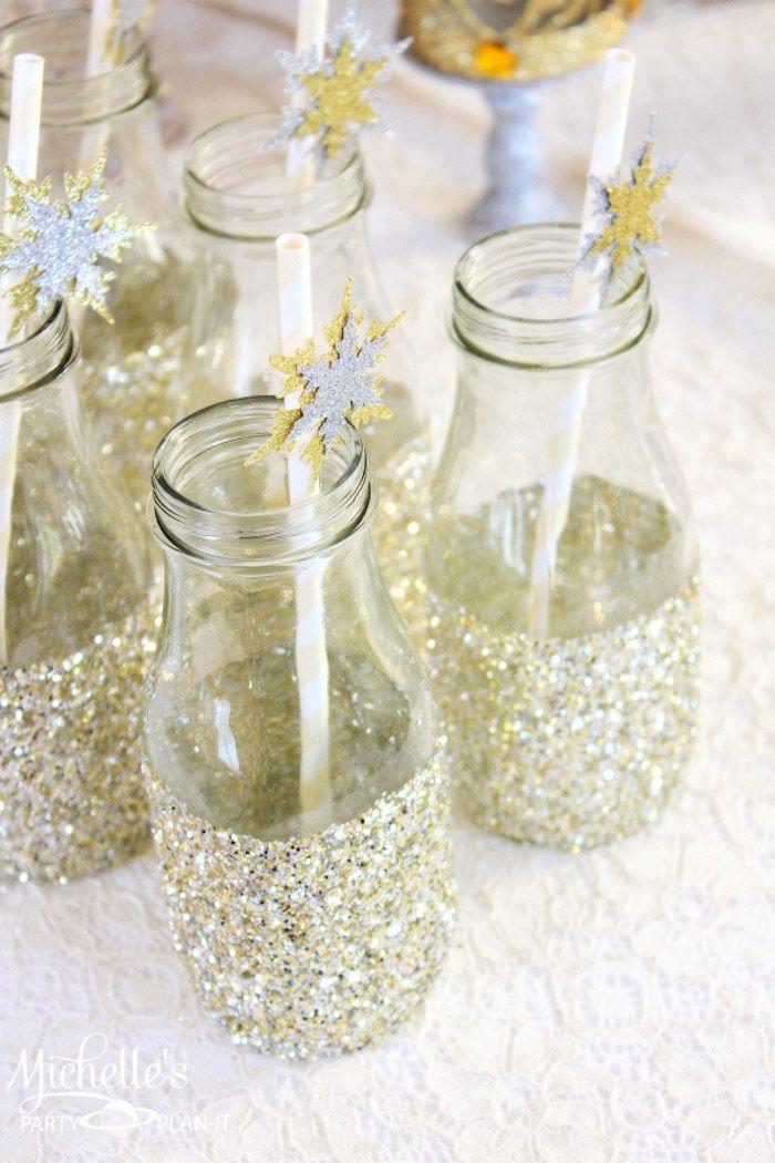 Gold + Silver Christmas Dessert Table via Kara's Party Ideas : Glitter bottles