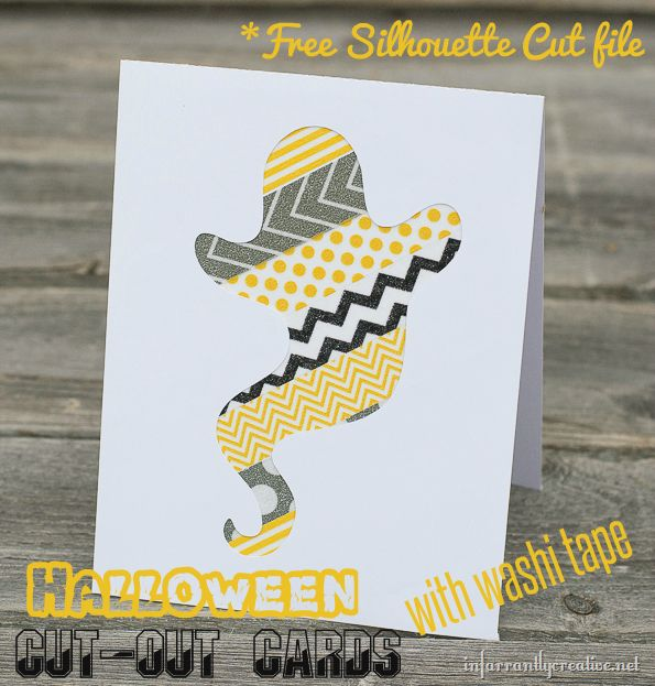 Handmade Halloween Cards {with free Silhouette cut file} ghost, bat, and pumpkin. Cute!