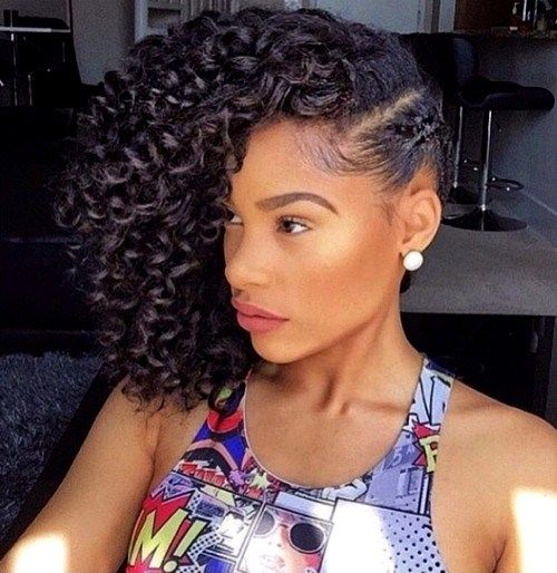 side curly hairstyle for medium natural hair