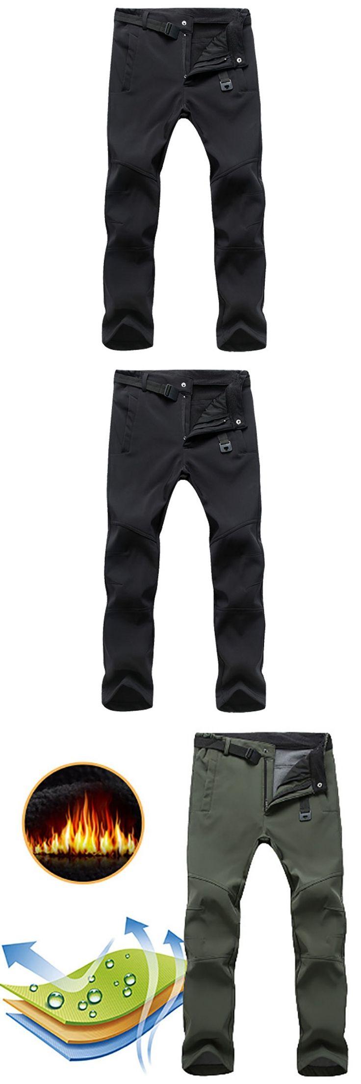 Hot Men Pants Waterproof Military Mens Casual Cargo Pants Warm Sweatpants Stretch Softshell Fleece Pants Skin Trousers