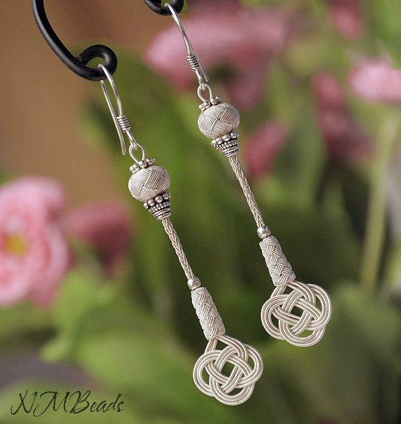 Pure Silver Celtic Knot Long Earrings Love Knot  by NMBeadsJewelry