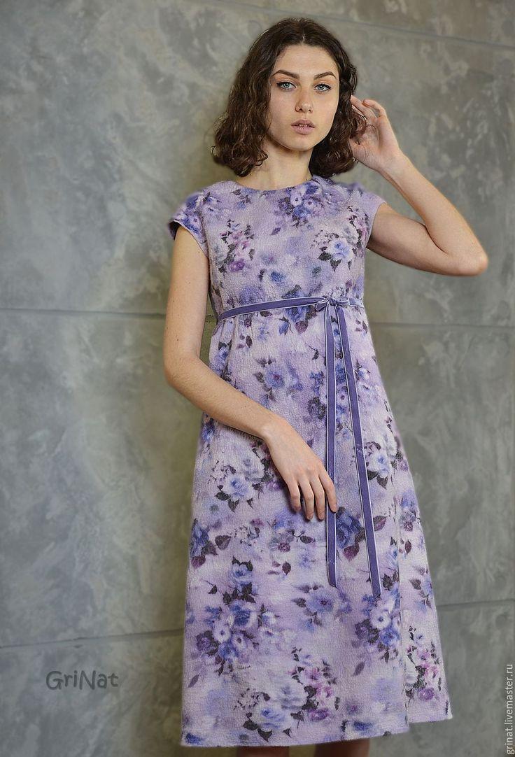 """Купить Платье""""Лавандовые розы"""" - бледно-сиреневый, фиолетовый, grinat, авторская ручная работа, Авторский дизайн"""