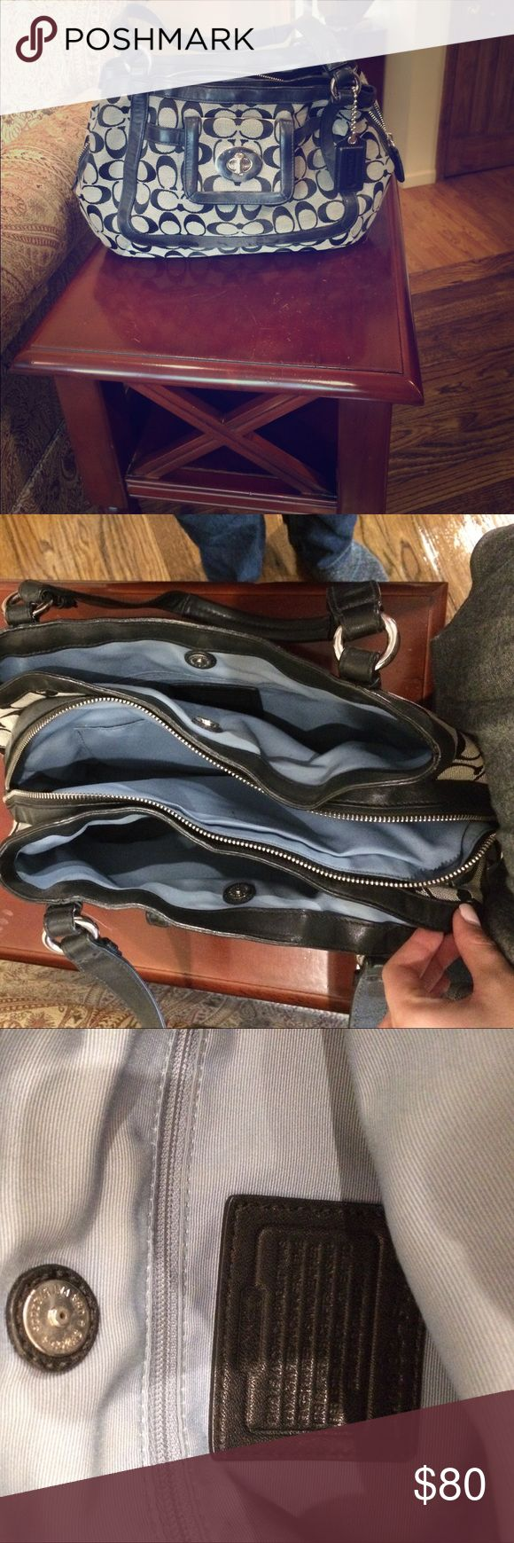 Coach pocketbook, black outside and blue lining Coach pocketbook with tons of storage! 3 pockets of storage, blue lining, and black exterior. Good condition Coach Bags Shoulder Bags