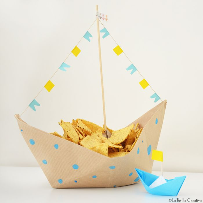 "Foto ""pinnata"" dalla nostra lettrice Alice Barboni La Fusilla Creativa: origami boat - party idea for snack"