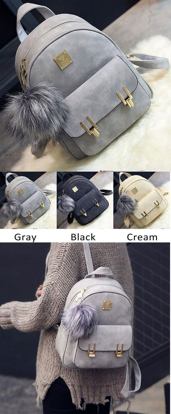 which color do you like? Fashion Frosted PU Zippered School Bag With Metal Lock Match Backpack #backpack #lock #match #metal #bag #fashion #metal